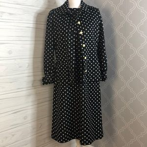 Vintage 1970s polka dot dress coat set